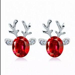 Red Gemstone Christmas Reindeer Earrings